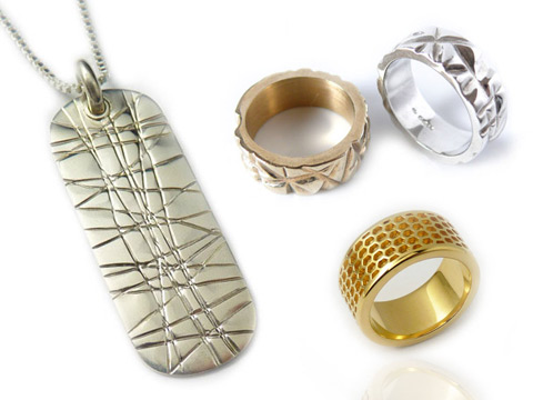 white gold, 9k gold, silver and 18k gold bespoke jewellery