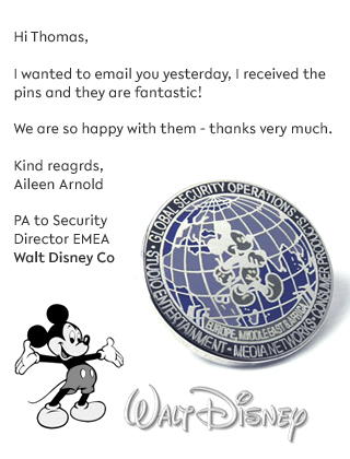 Corporate Company testimonial from Disney for their Enamel Pin Badges