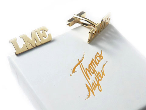 personalised gold cufflinks