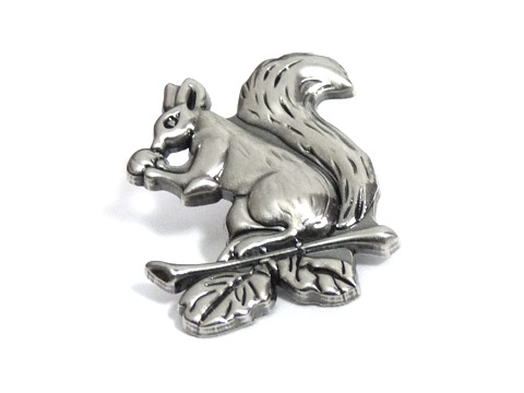 3D die struck lapel pin with satin antique nickel plating