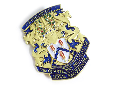 3D die cast gold plated badge with soft enamel colour.