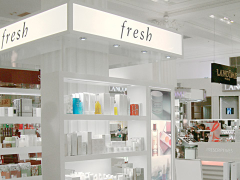 Fresh® skin care cosmetic company branding in Selfridges.