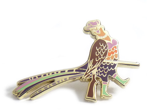 Intricate multi coloured enamel peacock badges.