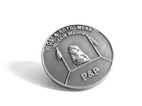 3D die cast antique silver plated badges made in memory of the Falklands war.