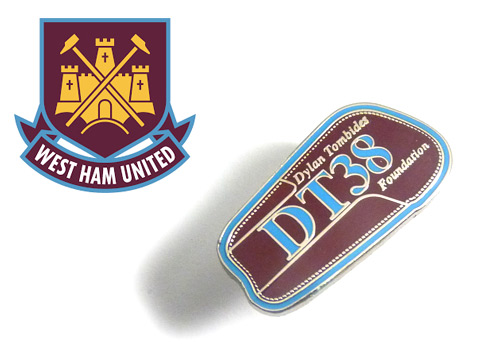 West Ham coloured football enamel badges custom made in a shin pad design for the DT38 foundation
