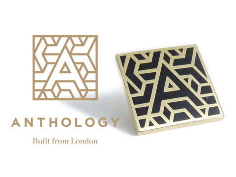 Bespoke enamel badge made to order with the Anthology company logo.