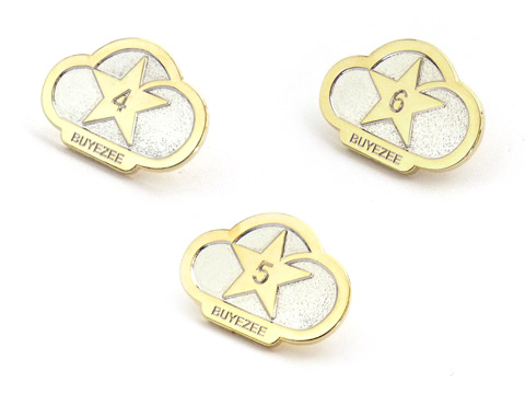 Branded Buyezee two tne silver and gold plated metal pin badges
