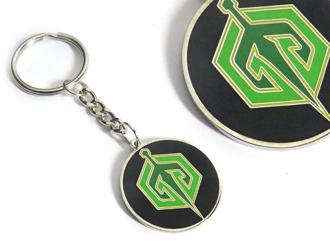 silver plated ID double sided enamel keyrings