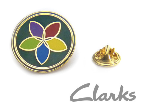 custom branded enamel badges made for Clarks