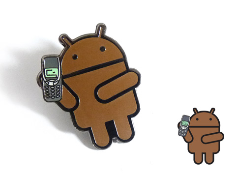 Branded brown enamel badges custom made with the android logo and Nokia mobile