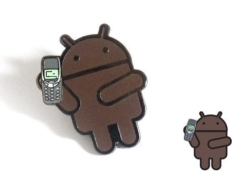 Various brown android logo enamel pin badges