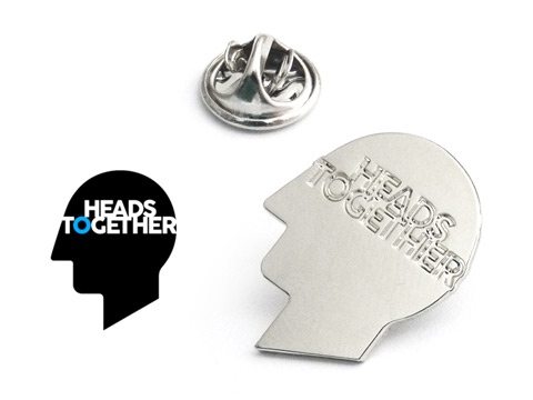 silver plated Heads Together lapel pin badges