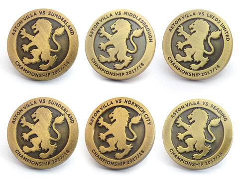 Personalised antique gold lapel pin badges